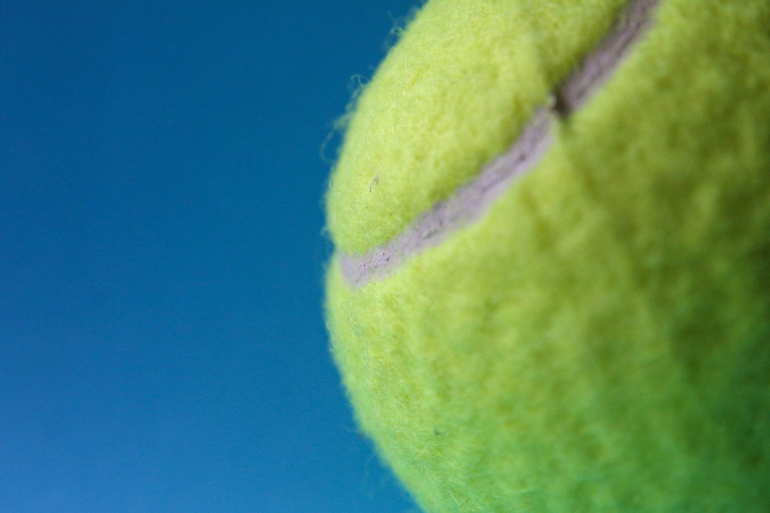 Tennis - green tennis ball on blue textile